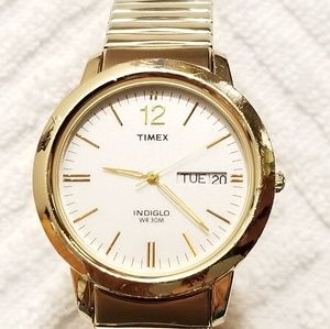 Timex Indiglo Silver Dial Watch Gold Tone